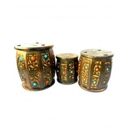Desi Karigar Wooden Drum Shaped Carved Money Bank - Set of 3