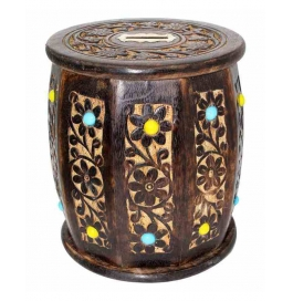 Desi Karigar Big Wooden Drum Shaped Carved Money Bank