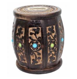 Desi Karigar Wooden Drum Shaped Carved Money Bank