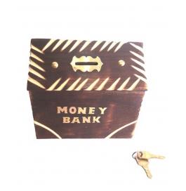 Desi Karigar Wooden Hut Shaped Antique Money Bank