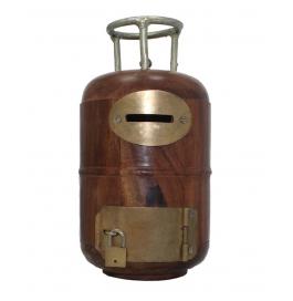 Desi Karigar Wooden Cylinder Shaped Money Bank