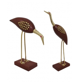 Desi Karigar Wooden Crane Bird Set Of 2 Pcs- Beautiful Product For Home D�cor