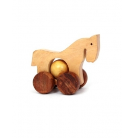 Desi Karigar Wooden Toy Horse with wheels - for Kids & Home Decor