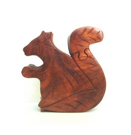 Desi Karigar Sheesham Wood Puzzle Box. Squirrel Trinket Keepsake Box