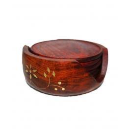 Desi Karigar Brown Wooden Sheesham Lotus Coaster Set With Brass Engraving