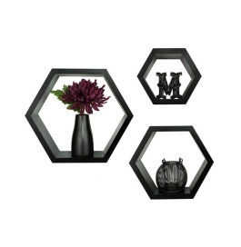 Desi Karigar Fancy 3 Pcs Hexagonal Wooden Wall Shelf Black