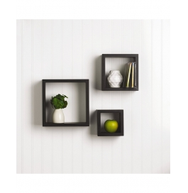 Desi Karigar 3 Pcs Square Wooden Wall Shelf Black