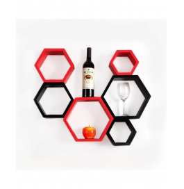 Desi Karigar Wall Mount Shelves Hexagon Shape Set Of 6 Wall Shelves - Red & Black