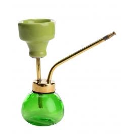 Desi Karigar Decorative Stylish 6 Inch Glass, Brass Hookah (green, Gold)