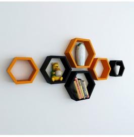 Desi Karigar Wall Mount Shelves Hexagon Shape Set Of 6 Wall Shelves - Black & Orange