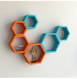 Desi Karigar Wall Mount Shelves Hexagon Shape Set Of 6 Wall Shelves - Orange & Sky Blue