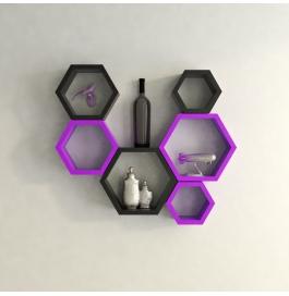 Desi Karigar Wall Mount Shelves Hexagon Shape Set Of 6 Wall Shelves - Black & Purple