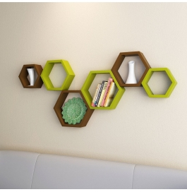 Desi Karigar Wall Mount Shelves Hexagon Shape Set Of 6 Wall Shelves - Brown & Green