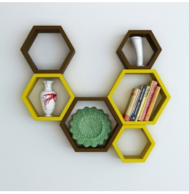 Desi Karigar Wall Mount Shelves Hexagon Shape Set Of 6 Wall Shelves - Brown & Yellow
