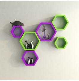 Desi Karigar Wall Mount Shelves Hexagon Shape Set Of 6 Wall Shelves - Purple & Green