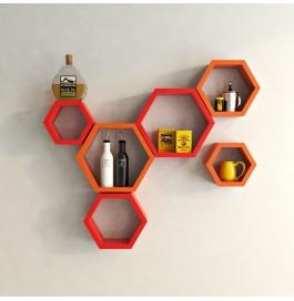 Desi Karigar Wall Mount Shelves Hexagon Shape Set Of 6 Wall Shelves - Red & Orange