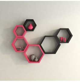 Desi Karigar Wall Mount Shelves Hexagon Shape Set Of 6 Wall Shelves - Pink & Black