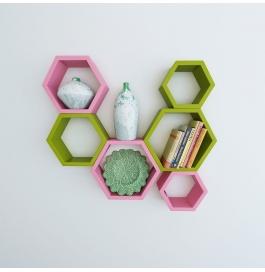 Desi Karigar Wall Mount Shelves Hexagon Shape Set Of 6 Wall Shelves - Pink & Green