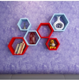 Desi Karigar Wall Mount Shelves Hexagon Shape Set Of 6 Wall Shelves - Sky Blue & Red