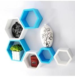 Desi Karigar Wall Mount Shelves Hexagon Shape Set Of 6 Wall Shelves - Sky Blue & White