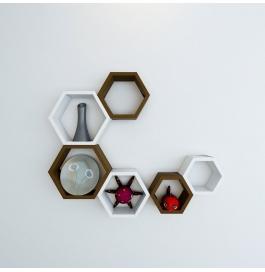 Desi Karigar Wall Mount Shelves Hexagon Shape Set Of 6 Wall Shelves - Brown & White