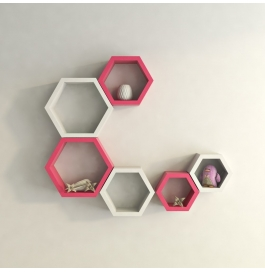 Desi Karigar Wall Mount Shelves Hexagon Shape Set Of 6 Wall Shelves - Pink & White