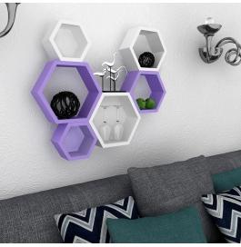 Desi Karigar Wall Mount Shelves Hexagon Shape Set Of 6 Wall Shelves - Purple & White