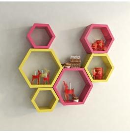 Desi Karigar Wall Mount Shelves Hexagon Shape Set Of 6 Wall Shelves - Pink & Yellow