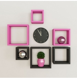 Desi Karigar Wall Mount Shelves Square Shape Set Of 6 Wall Shelves - Pink & Black
