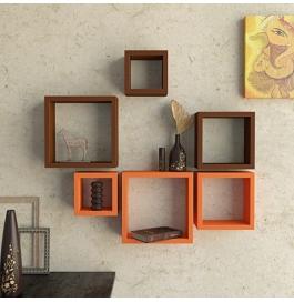 Desi Karigar Wall Mount Shelves Square Shape Set Of 6 Wall Shelves - Brown & Orange