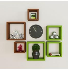 Desi Karigar Wall Mount Shelves Square Shape Set Of 6 Wall Shelves - Brown & Green