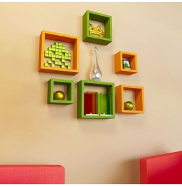 Desi Karigar Wall Mount Shelves Square Shape Set Of 6 Wall Shelves - Orange & Green