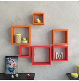 Desi Karigar Wall Mount Shelves Square Shape Set Of 6 Wall Shelves - Orange & Red