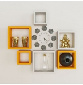 Desi Karigar Wall Mount Shelves Square Shape Set Of 6 Wall Shelves - Orange & White