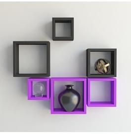 Desi Karigar Wall Mount Shelves Square Shape Set Of 6 Wall Shelves - Purple & Black