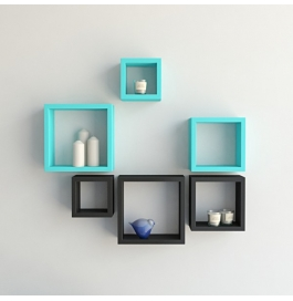 Desi Karigar Wall Mount Shelves Square Shape Set Of 6 Wall Shelves - Black & Sky Blue