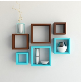 Desi Karigar Wall Mount Shelves Square Shape Set Of 6 Wall Shelves - Brown & Sky Blue