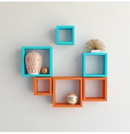 Desi Karigar Wall Mount Shelves Square Shape Set Of 6 Wall Shelves - Orange & Sky Blue