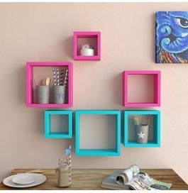 Desi Karigar Wall Mount Shelves Square Shape Set Of 6 Wall Shelves - Pink & Sky Blue