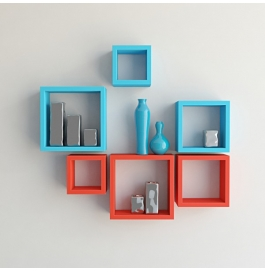 Desi Karigar Wall Mount Shelves Square Shape Set Of 6 Wall Shelves - Red & Sky Blue