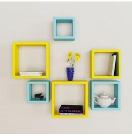Desi Karigar Wall Mount Shelves Square Shape Set Of 6 Wall Shelves - Yellow & Sky Blue