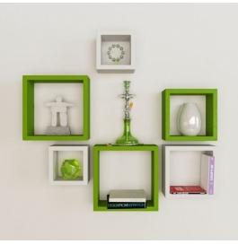 Desi Karigar Wall Mount Shelves Square Shape Set Of 6 Wall Shelves - Green & White