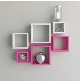 Desi Karigar Wall Mount Shelves Square Shape Set Of 6 Wall Shelves - Pink & White