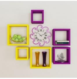 Desi Karigar Wall Mount Shelves Square Shape Set Of 6 Wall Shelves - Yellow & Purple