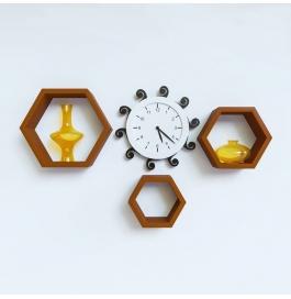 Desi Karigar Wall Mount Shelves Hexagon Shape Set Of 3 Brown Wall Shelves
