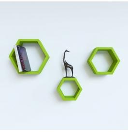 Desi Karigar Wall Mount Shelves Hexagon Shape Set Of 3 Green Wall Shelves