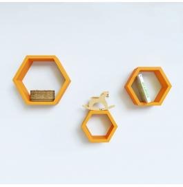 Desi Karigar Wall Mount Shelves Hexagon Shape Set Of 3 Orange Wall Shelves