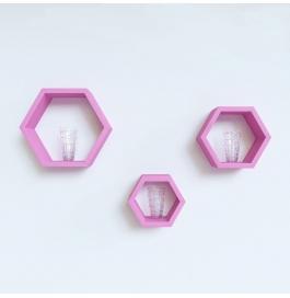 Desi Karigar Wall Mount Shelves Hexagon Shape Set Of 3 Pink Wall Shelves