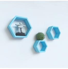 Desi Karigar Wall Mount Shelves Hexagon Shape Set Of 3 Sky Blue Wall Shelves