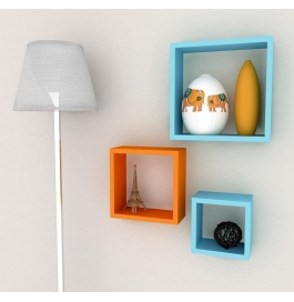 Desi Karigar Wall Mount Shelves Square Shape Set Of 3 Wall Shelves: Orange & Sky Blue